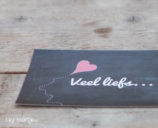 Wenskaart krijtbord | Veel liefs