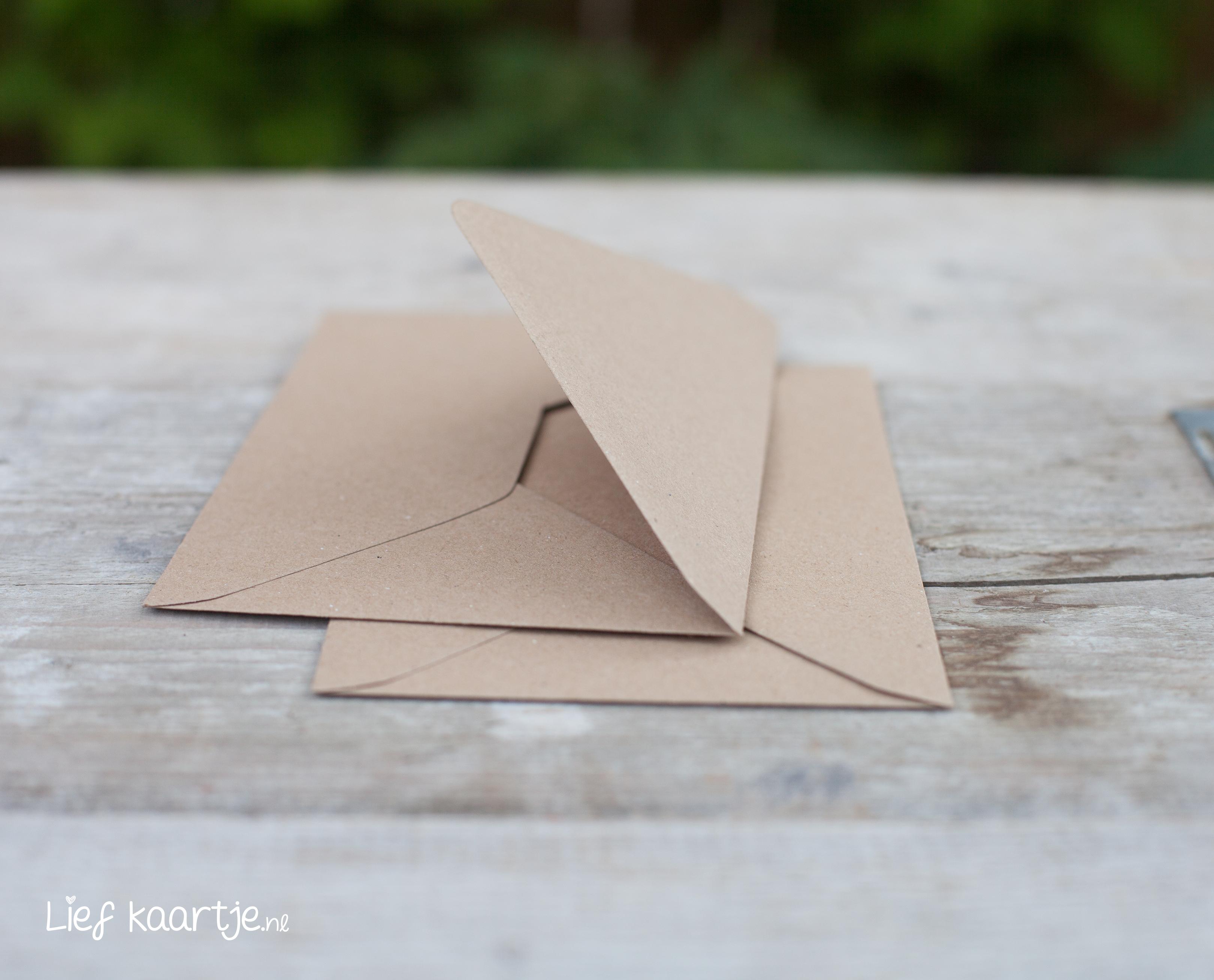 Kies bij deze trouwkaart voor kraft enveloppen om de trouwkaart helemaal af te maken! title=TIP: