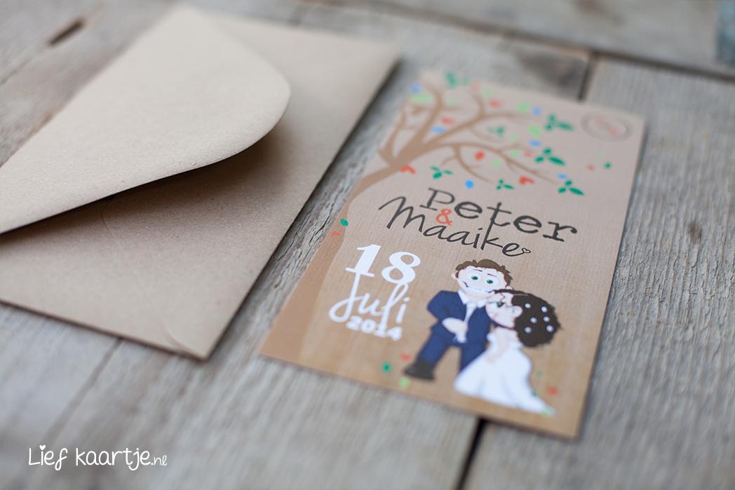 Kies bij de optie envelop voor 'JA' en je krijgt de kraft envelop erbij om deze trouwkaart tot een mooi geheel te maken. De kraft enveloppen zijn 22x11cm. title=TIP: