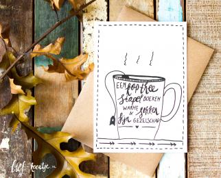 Handlettering kerstkaart Kop thee