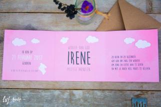 Geboortekaart drieluik roze