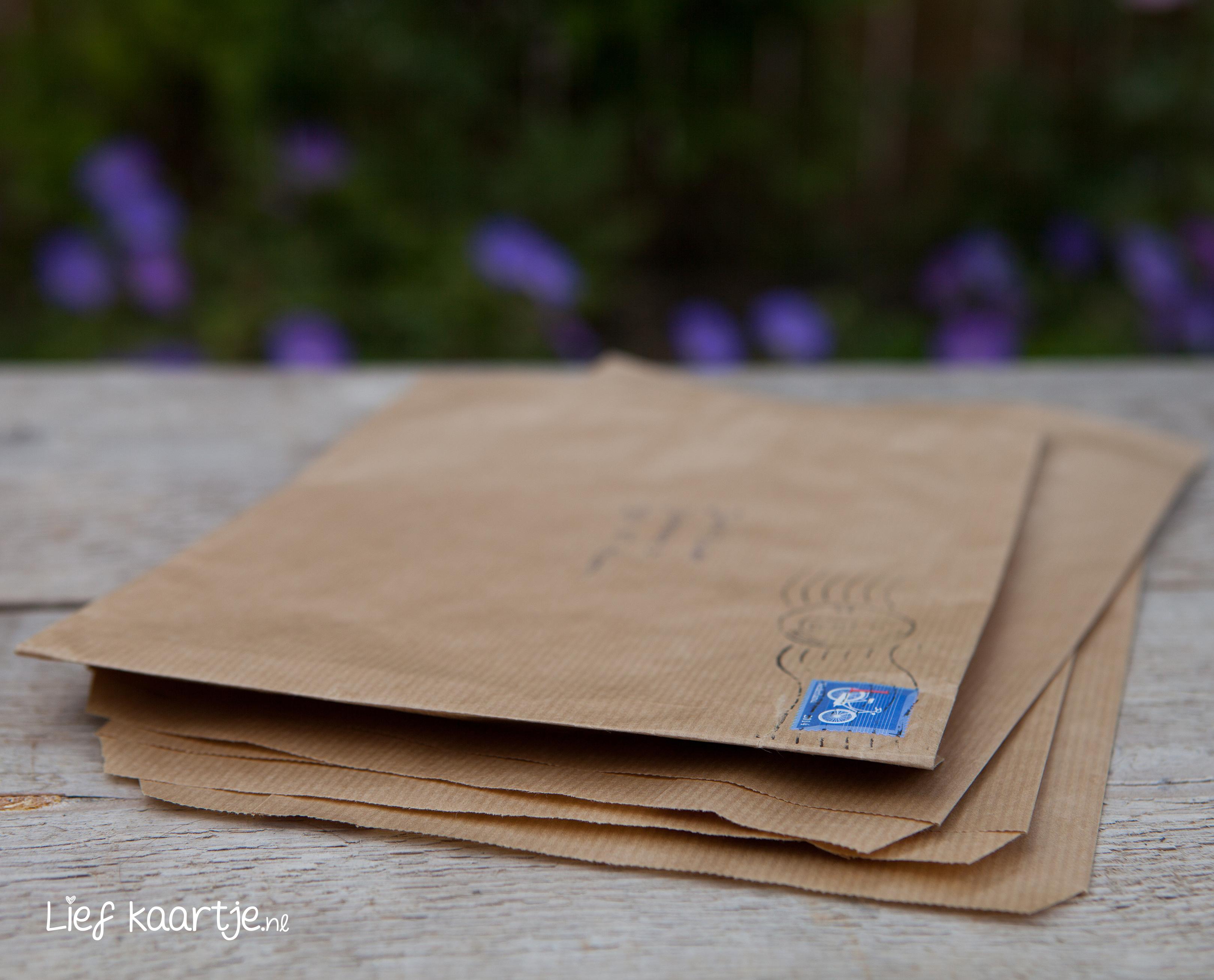 Deze A5 trouwkaart past precies in een kraft zakje. Je kunt ze gebruiken om je trouwkaart in te versturen. De kraft zakjes zijn € 0,30 cent per stuk en kun je mee bestellen in het bestel proces.