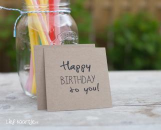 Happy Birthday kraft kaartje