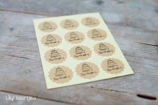 Stickers Happy birthday 7 stuks