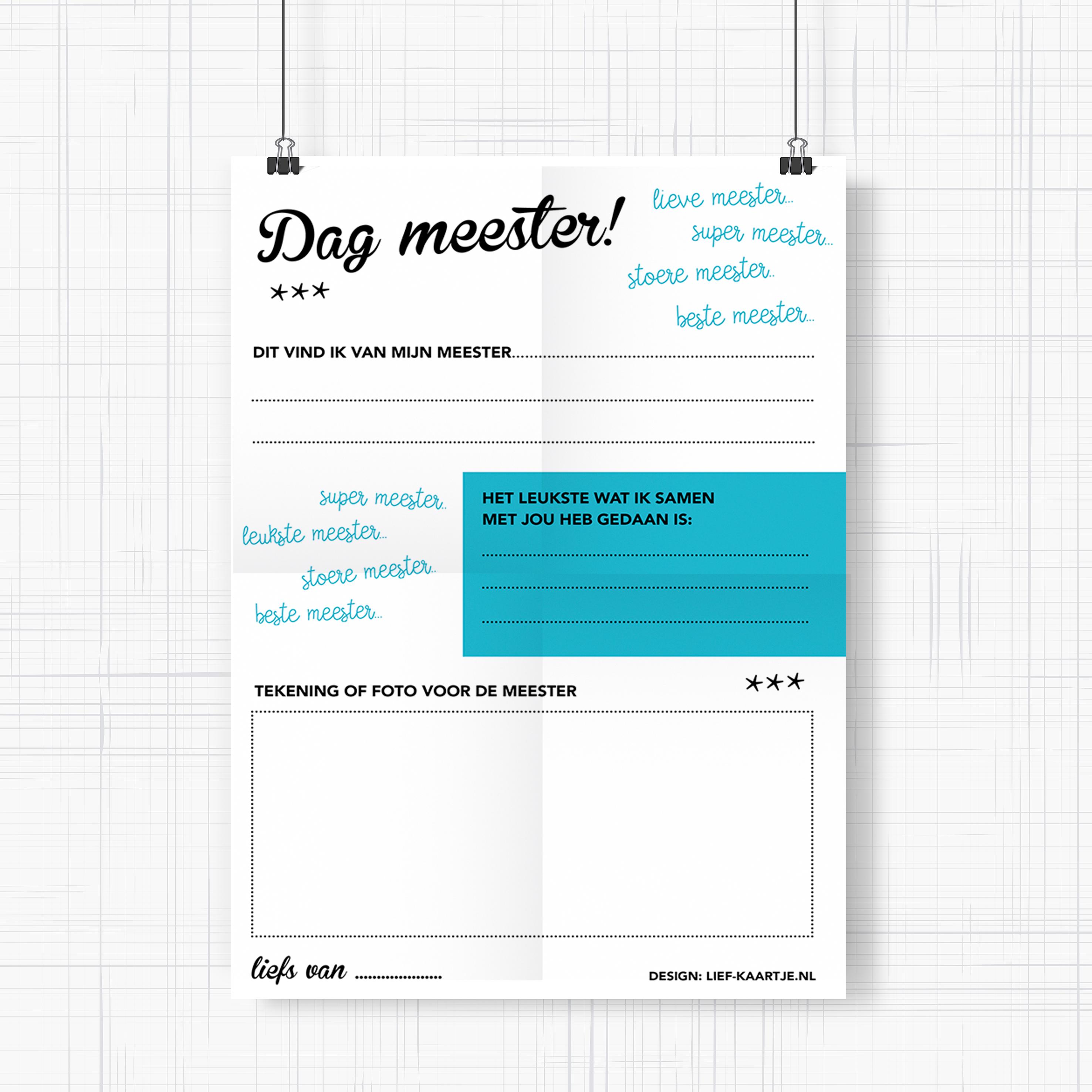 Poster afscheid meester - freeprintable