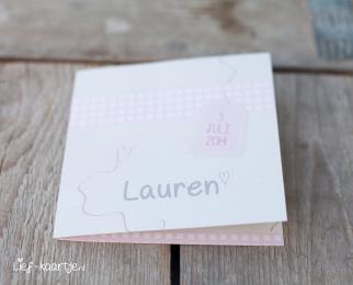 Geboortekaart meisje met ruit