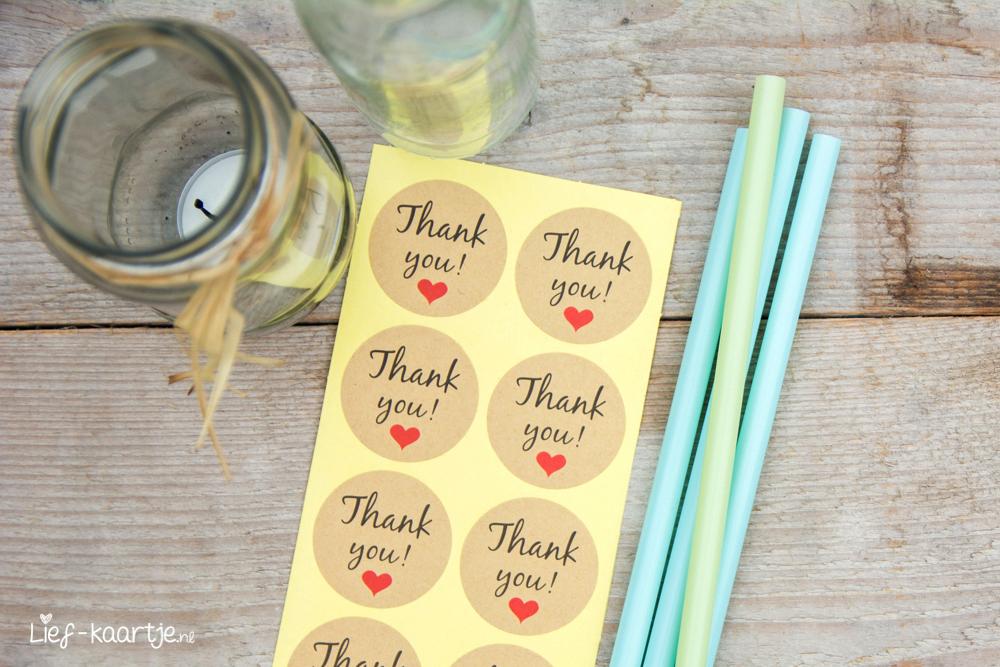 Stickers Thank You met hart