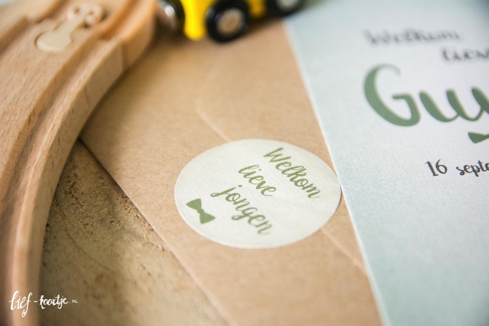 Geboortekaart olijfgroen staand