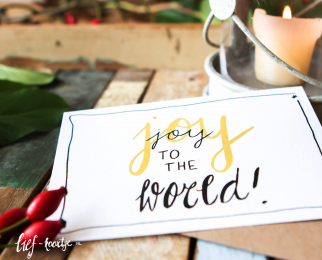 Handlettering kerstkaart Joy to the world