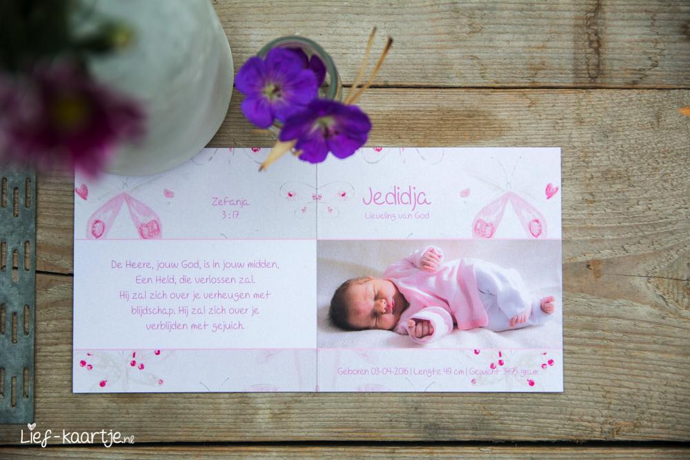 Geboortekaart meisje vlinderbehang